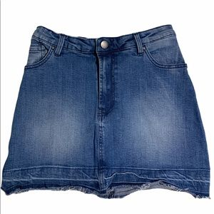 Harlow denim mini skirt with a raw hem